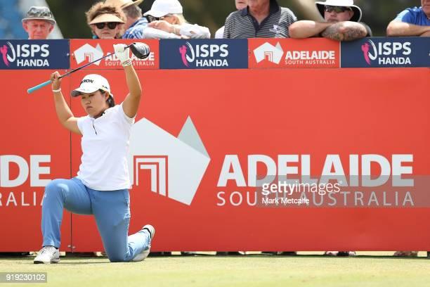 Nasa Hataoka of Japan stretches on the first tee during day three of the ISPS Handa Australian Women's Open at Kooyonga Golf Club on February 17 2018...