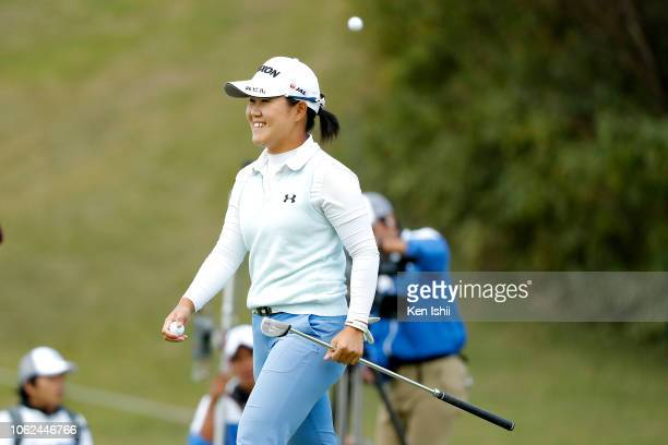 Nasa Hataoka of Japan walks off on the 18th green during the first round of the TOTO Japan Classic at Seta Golf Course on November 02 2018 in Otsu...