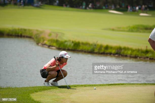 Nasa Hataoka reads her putt on the 18th hole during the final round of the 2018 KPMG Women's PGA Championship at Kemper Lakes Golf Club on July 1...