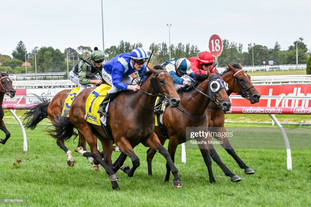 Nasaayim ridden by Mark Zahra wins the Spicer Thoroughbreds Handicap at Caulfield Racecourse on February 21, 2018 in Caulfield, Australia.