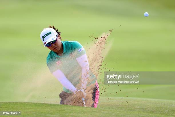 NasaHataoka of Japan plays a shot out of a bunker during Day One of the 2020 AIG Women's Open at Royal Troon on August 20 2020 in Troon Scotland