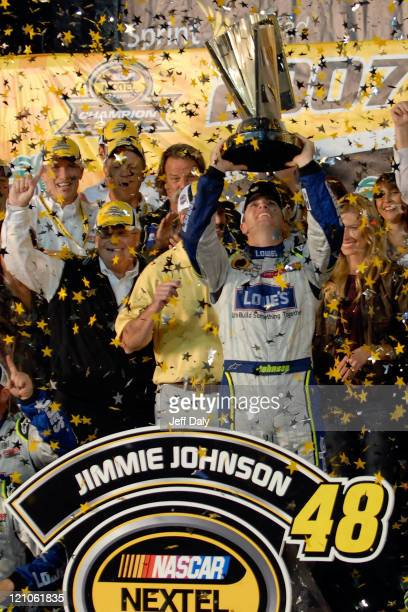 Nascar Champion Jimmie Johnson celebrates winning his second consecutive Nextel Cup championship at the Homestead Miami Speedway on November18 2007...
