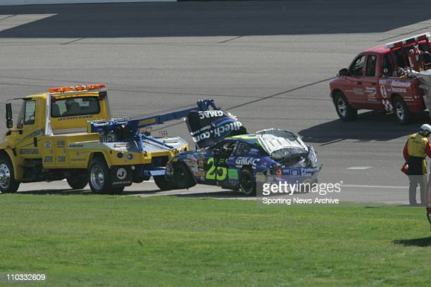 Nascar crash Brian Vickers during the NEXTEL Cup UAWDaimler Chrysler 400 on March 13 2005 in Las Vegas NV Jimmie Johnson won the race