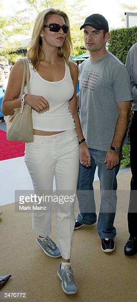Nascar driver Jeff Gordon and his girlfriend Amanda Church attend the 'Official US Open Men Singles Finals VIP Party' at the USTA National Tennis...