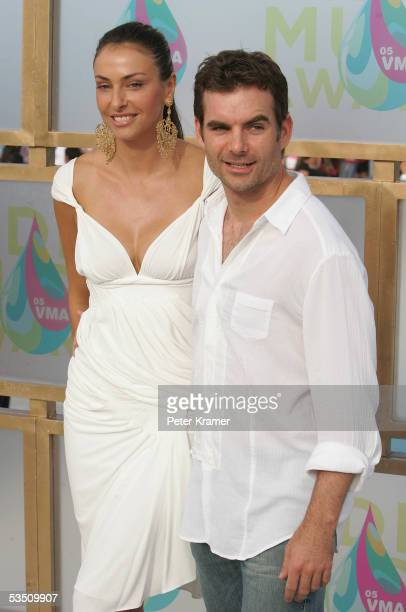 Nascar driver Jeff Gordon with Ingrid Vandebosch arrives at the 2005 MTV Video Music Awards at the American Airlines Arena on August 28 2005 in Miami...