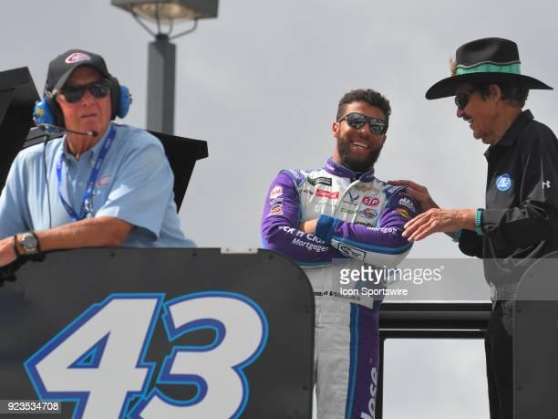 Nascar Hall of Fame Driver Richard Petty talks to his driver Bubba Wallace Jr Richard Petty Motorsports NASCAR Racing Experience Chevrolet Camaro as...