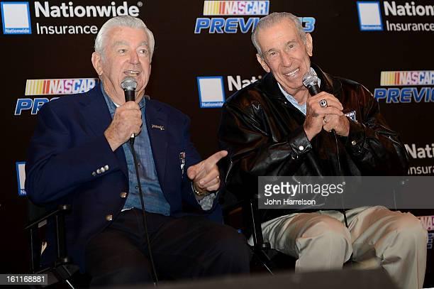 Nascar Hall of Fame drivers Bobby Allison and Ned Jarrett speak at the NASCAR Hall of Fame on February 9 2013 in Charlotte North Carolina