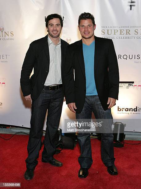 Nascar Sprint Cup driver Jimmie Johnson and Singer Nick Lachey arrive at the Super Skins Kickoff Party hosted by Nick Lachey and Jimmie Johnson at...
