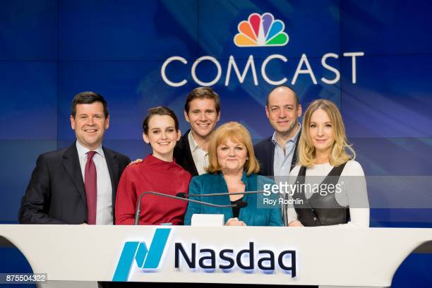 Nasdaq Executive Bob McCooey with Joanne Froggatt Allen Leech Lesley Nicol Gareth Neame and Sophie McShera from the cast of 'Downton Abbey' ring the...