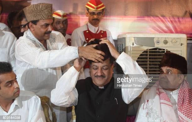 Naseem Khan greets Dy CM Ajit Pawar along with Manikrao Thakre Milind Deora and CM Prithviraj Chavan at Iftar party organised by Haj House in Mumbai...