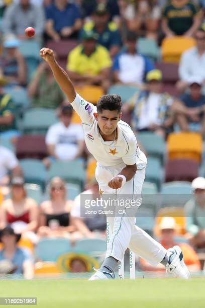 Naseem Shah of Pakistan bowls during day two of the 1st Domain Test between Australia and Pakistan at The Gabba on November 22 2019 in Brisbane...