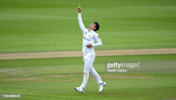 Naseem Shah of Pakistan celebrates after taking the wicket of Joe Root of England during Day Four of the 1st #RaiseTheBat Test Match between England...