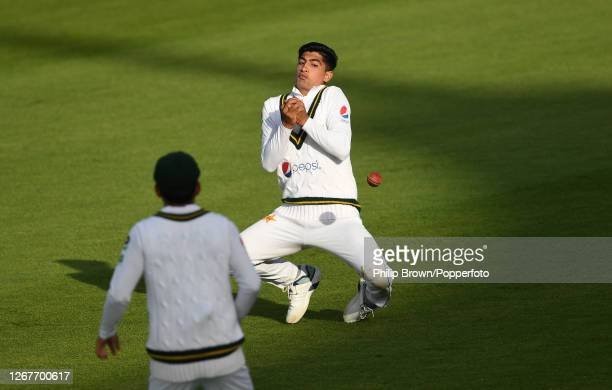 Naseem Shah of Pakistan drops a catch from the bat of Dom Bess during the second day of the third Test match between England and Pakistan at the...
