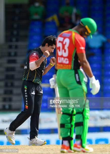 Naseem Shah of Saint Kitts & Nevis Patriots celebrates the dismissal of Brandon King of Guyana Amazon Warriors during the 2021 Hero Caribbean Premier...