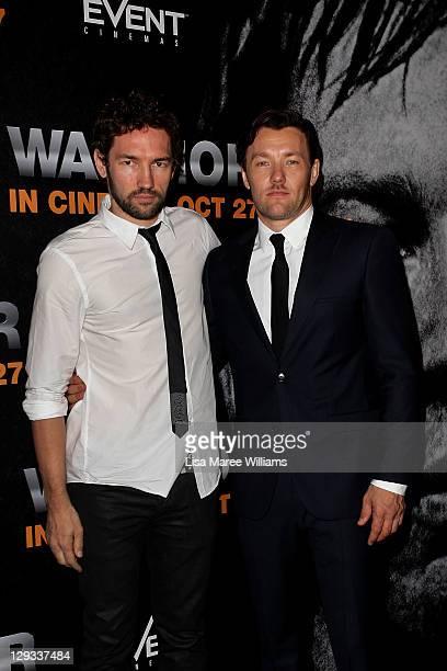 Nash Edgerton and Joel Edgerton attend the Australian premiere of 'Warrior' on October 16 2011 in Sydney Australia