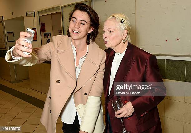 Nash Grier and Vivienne Westwood backstage during the Vivienne Westwood show as part of the Paris Fashion Week Womenswear Spring/Summer2016 on...