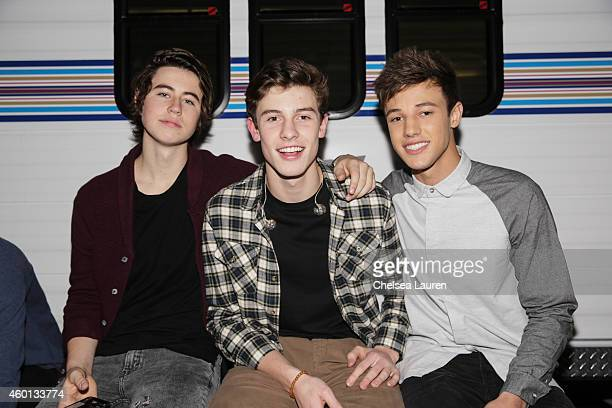 Nash Grier musician Shawn Mendes and Cameron Dallas attend KIIS FM's Jingle Ball Village at Chick Hearn Court on December 5 2014 in Los Angeles...