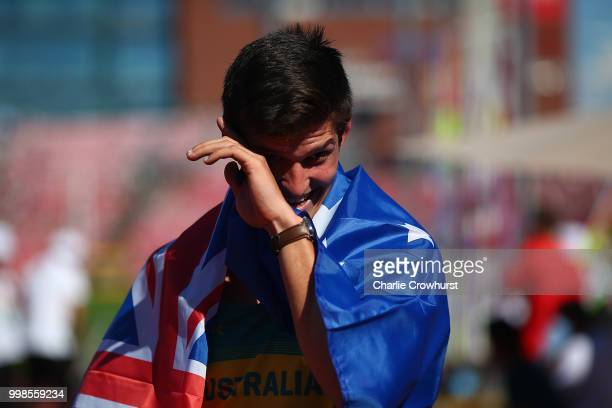 Nash Lowis of Australia celebrates winning gold in the final of the men's javelin on day five of The IAAF World U20 Championships on July 14 2018 in...