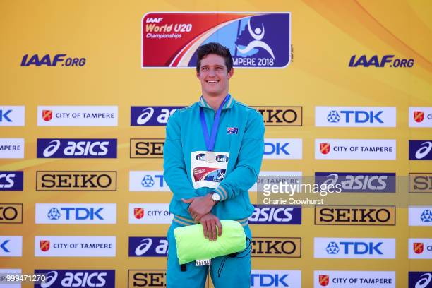 Nash Lowis of Australia celebrates with his medal during the medal ceremony for the men's javelin on day five of The IAAF World U20 Championships on...