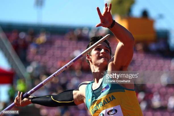 Nash Lowis of Australia in action during the final of the men's javelin on day five of The IAAF World U20 Championships on July 14 2018 in Tampere...
