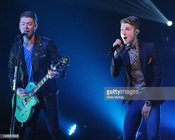 Nash Overstreet and Ryan Follese of Hot Chelle Rae perform at Center Stage on May 5 2012 in Atlanta Georgia