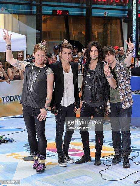 Nash Overstreet Ryan Follese Ian Keaggy and Jamie Follese of Hot Chelle Rae perform on NBC's 'Today' at Rockefeller Plaza on July 20 2012 in New York...