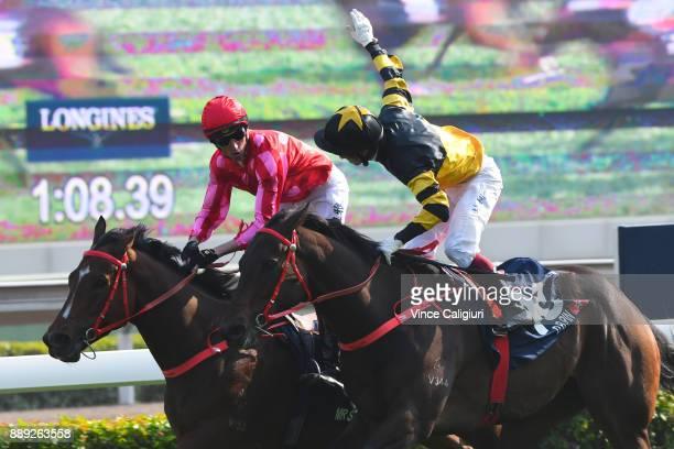 Nash Rawiller riding Mr Stunning defeats Olivier Doleuze riding DB Pin in Race 5 The Longines Hong Kong Sprint during Longines Hong Kong...
