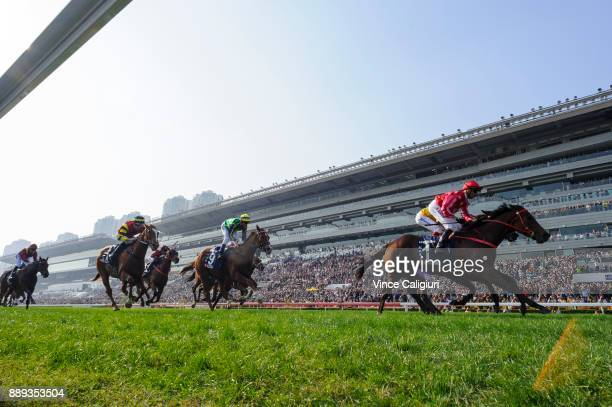 Nash Rawiller riding Mr Stunning defeats Olivier Doleuze riding DB Pin in Race 5 The Longines Hong Kong Sprint during Longines Hong Kong...