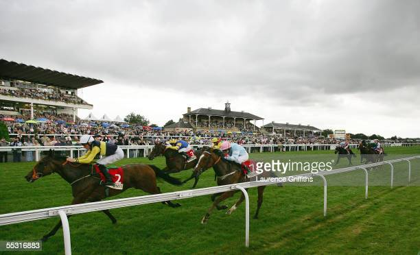 Nasheej rides to victory in the Murphy's Fastflow May Hill Stakes during The Ladbrokes St Leger Festival at Doncaster Race Course on September 8,...