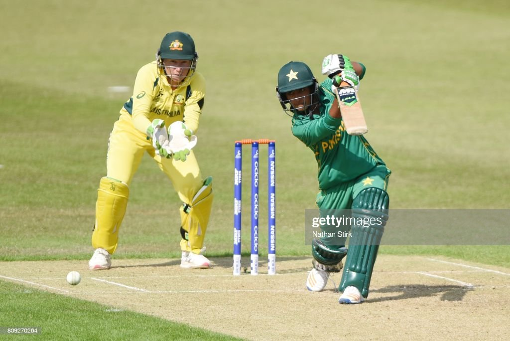 Nashra Sandhu of Pakistan drives the ball while batting during the ICC Women's World Cup 2017 match between Pakistan and Australia at Grace Road on July 5, 2017 in Leicester, England.