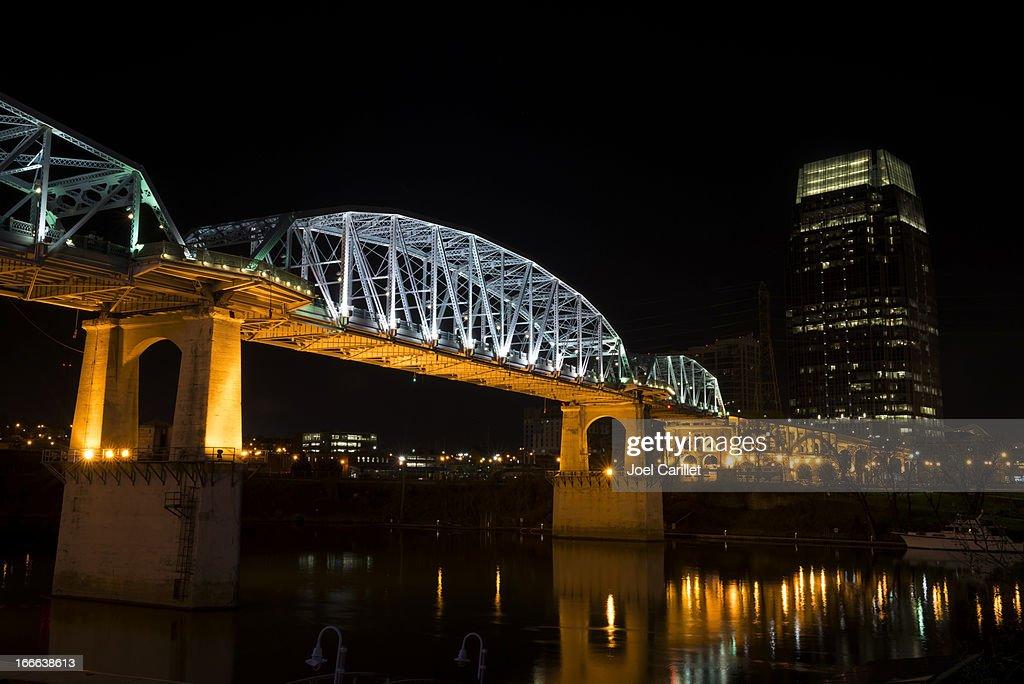 Nashville and Shelby Avenue Bridge at night : Stock Photo
