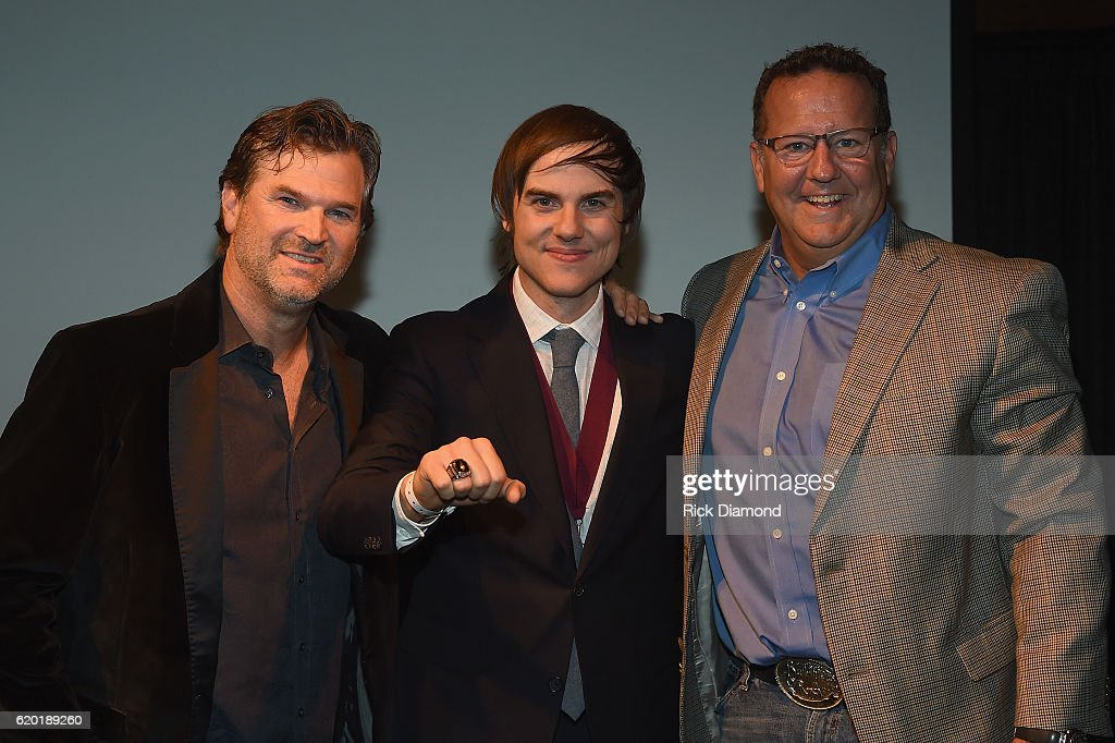 CMS Nashville Chairman and CEO Chris King, Songwriter of the Year honoree Ross Copperman, and Jostens VP, Curt Bruns attend the Folds of Honor/CMS Nashville Songwriter of the Year Party during the 50th annual CMA Awards week on November 1, 2016 in Nashville, Tennessee.