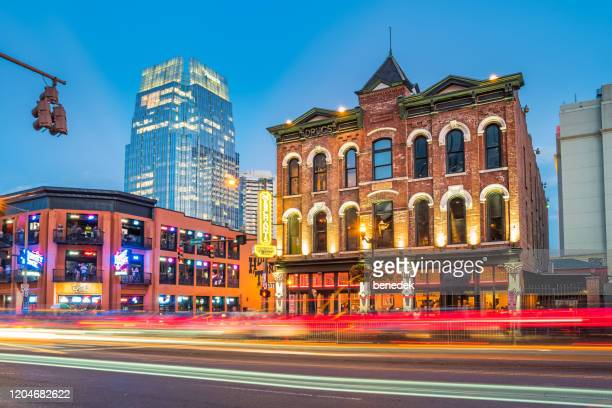 nashville downtown entertainment district tennessee usa - nashville stock pictures, royalty-free photos & images