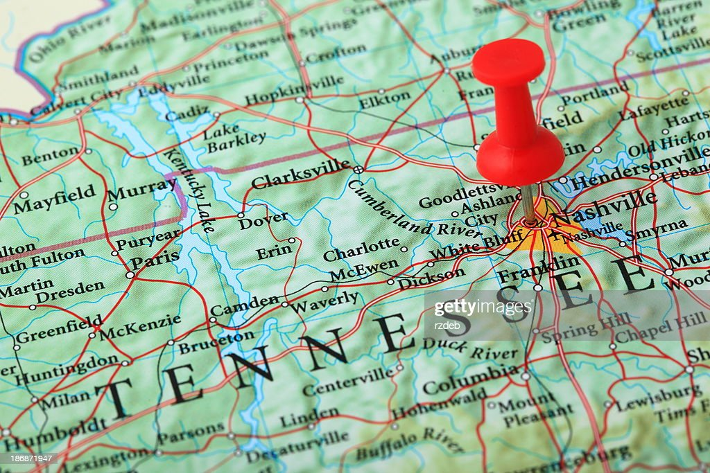 Nashville Map Tennessee Usa Stock Photo | Getty Images