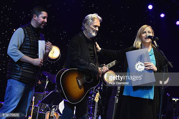 Nashville Mayor Megan Barry honors Kris Kristofferson along side Blackbird Presents CEO Keith Wortman at The Life Songs of Kris Kristofferson...