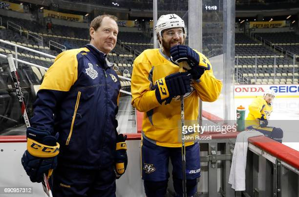 Nashville Predators assistant coach Phil Housley and PA Parenteau prepare to practice prior to Game Two of the 2017 NHL Stanley Cup Final at PPG...