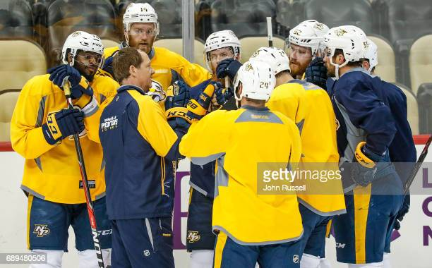 Nashville Predators assistant coach Phil Housley coaches the defensemen during practice during Media Day for the 2017 NHL Stanley Cup Final on May 28...