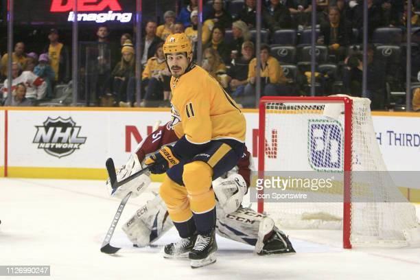 Nashville Predators center Brian Boyle is shown during the NHL game between the Nashville Predators and Colorado Avalanche held on February 23 at...
