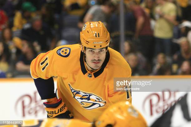 Nashville Predators center Brian Boyle is shown during the NHL game between the Nashville Predators and Chicago Blackhawks held on April 6 at...