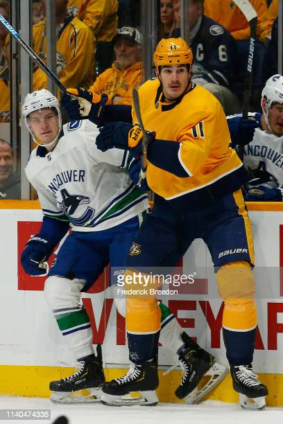 Nashville Predators center Brian Boyle skates against the Vancouver Canucks during the first period at Bridgestone Arena on April 04 2019 in...