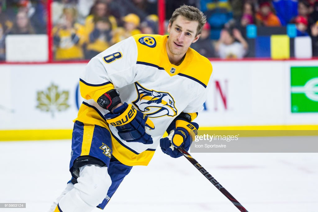 Nashville Predators Center Kyle Turris (8) skates during warm-up, in his return to Ottawa for the first time since being traded earlier in the season, before National Hockey League action between the Nashville Predators and Ottawa Senators on February 8, 2018, at Canadian Tire Centre in Ottawa, ON, Canada.