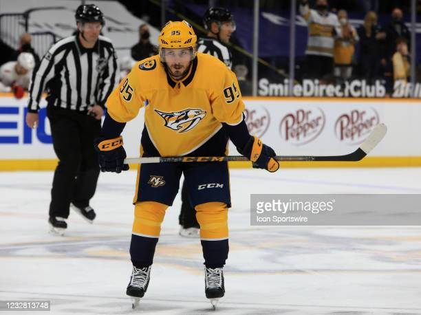 Nashville Predators center Matt Duchene is shown following his first period goal during the NHL game between the Nashville Predators and Carolina...