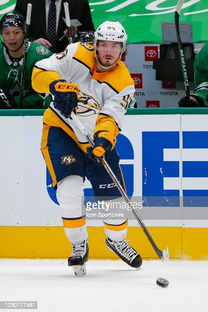 Nashville Predators Center Matt Duchene makes a pass as he crosses the blue line during the game between the Nashville Predators and Dallas Stars on...