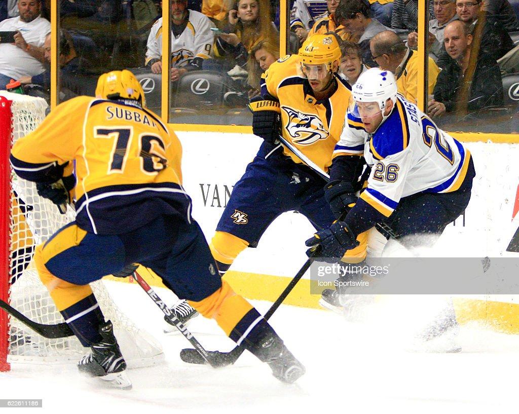 NHL: NOV 10 Blues at Predators : News Photo