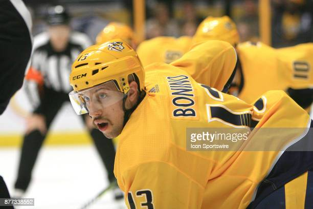 Nashville Predators center Nick Bonino is shown during the NHL game between the Nashville Predators and the Winnipeg Jets held on November 20 at...