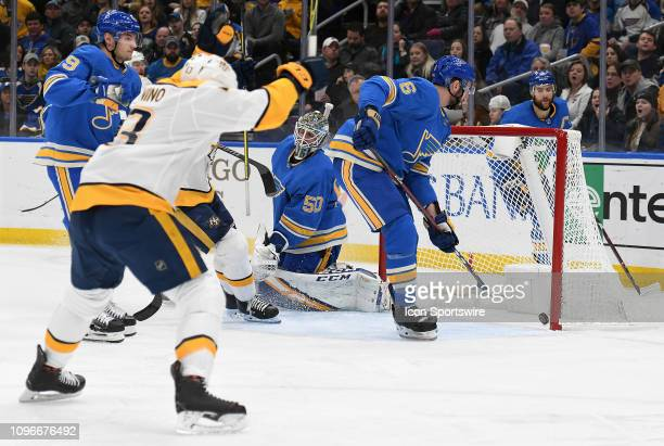 Nashville Predators center Nick Bonino reacts after the Predators score in the second period during an NHL game between the Nashville Predators and...