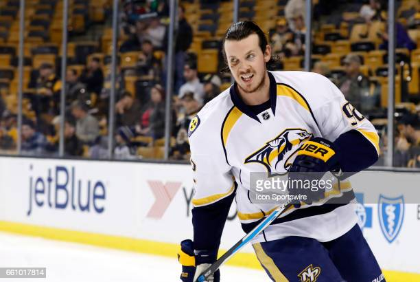Nashville Predators center Ryan Johansen with black eye skates during warm up before a regular season NHL game between the Boston Bruins and the...