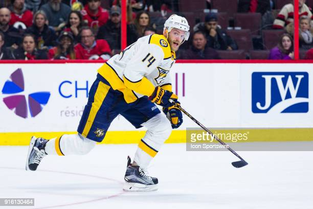 Nashville Predators Defenceman Mattias Ekholm skates hard during overtime National Hockey League action between the Nashville Predators and Ottawa...