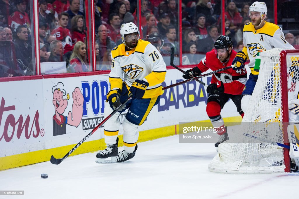 Nashville Predators Defenceman P.K. Subban (76) skates the puck around the net during first period National Hockey League action between the Nashville Predators and Ottawa Senators on February 8, 2018, at Canadian Tire Centre in Ottawa, ON, Canada.