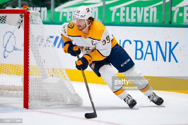 Nashville Predators Defenceman Roman Josi circles around his net during the game between the Nashville Predators and Dallas Stars on January 24, 2021...